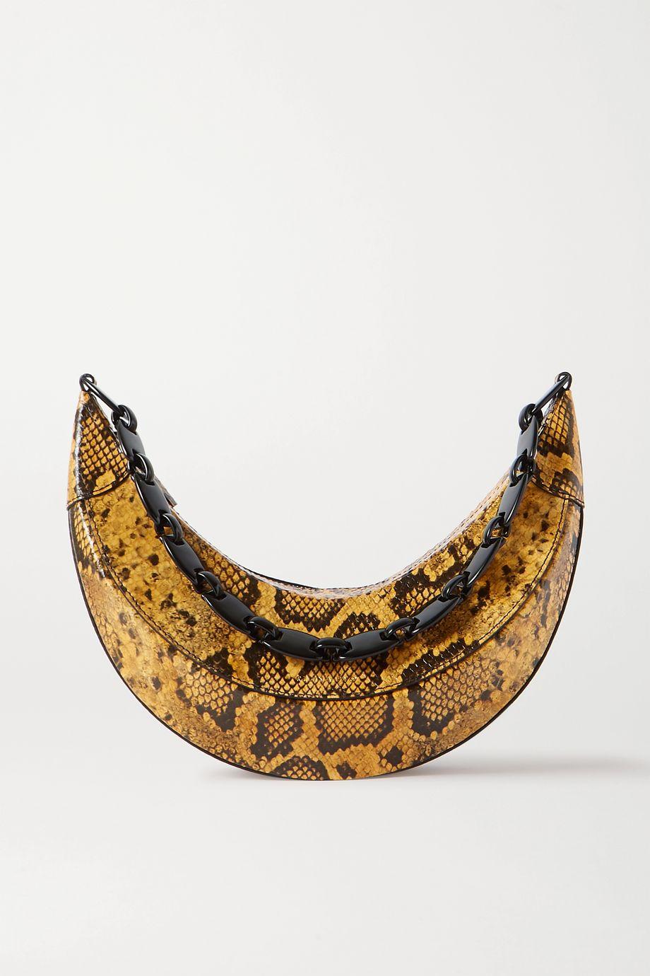 REJINA PYO Sac porté épaule en cuir glacé effet serpent Banana