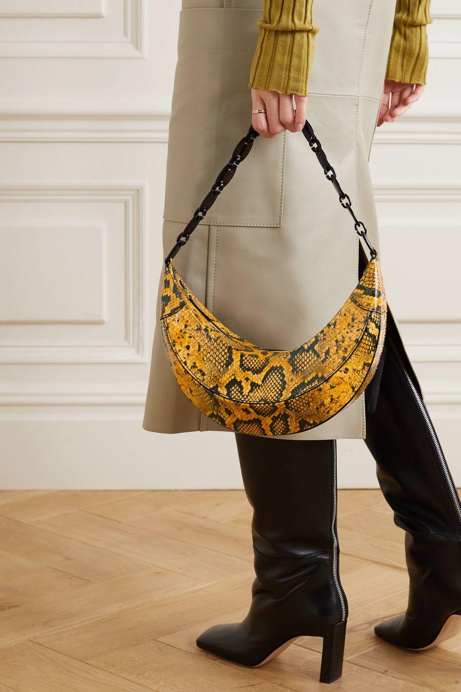 REJINA PYO Banana snake-effect glossed-leather shoulder bag