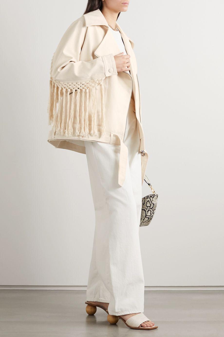 Mother of Pearl + NET SUSTAIN Jamie macramé-trimmed organic denim jacket