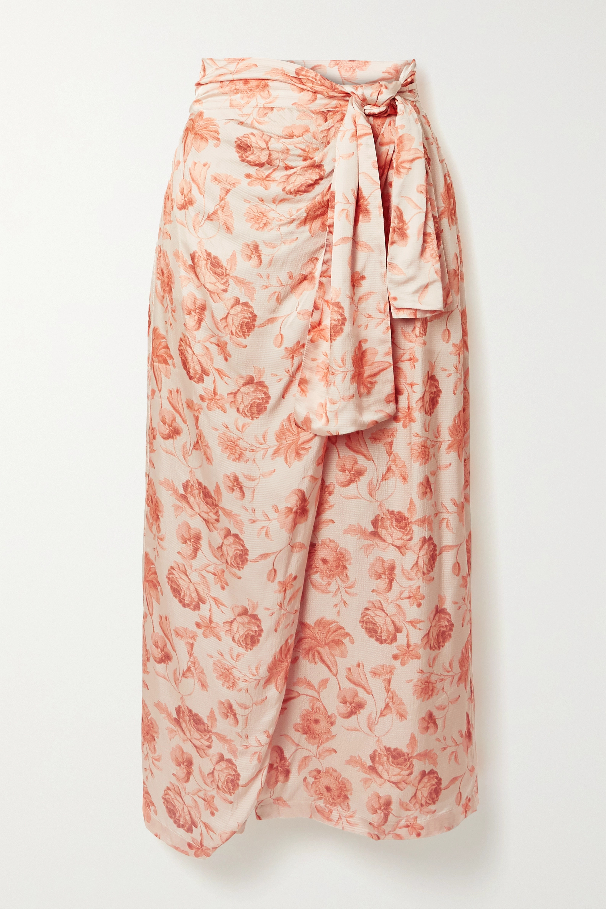 Mother of Pearl + NET SUSTAIN wrap-effect floral-print hammered-satin midi skirt