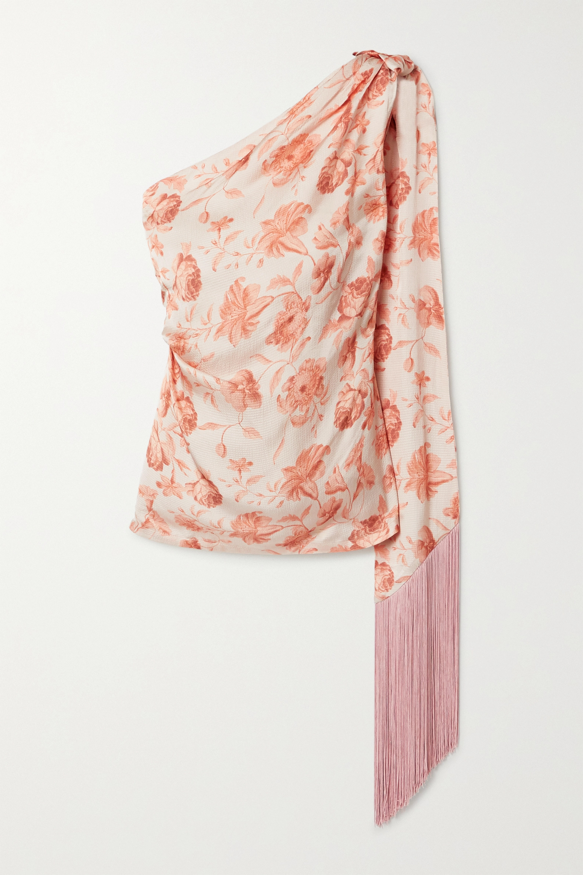 Mother of Pearl + NET SUSTAIN one-shoulder fringed floral-print hammered-satin top