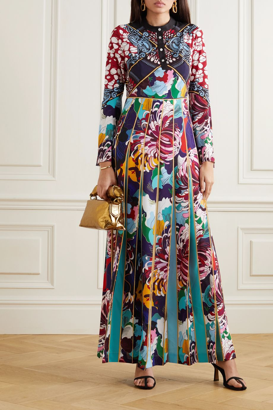 Mary Katrantzou Desmine pleated printed crepe de chine maxi dress