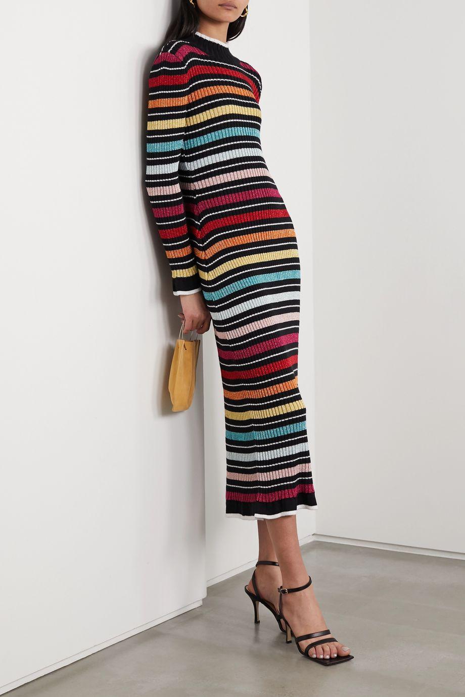 Mary Katrantzou Rain striped metallic ribbed-knit midi dress