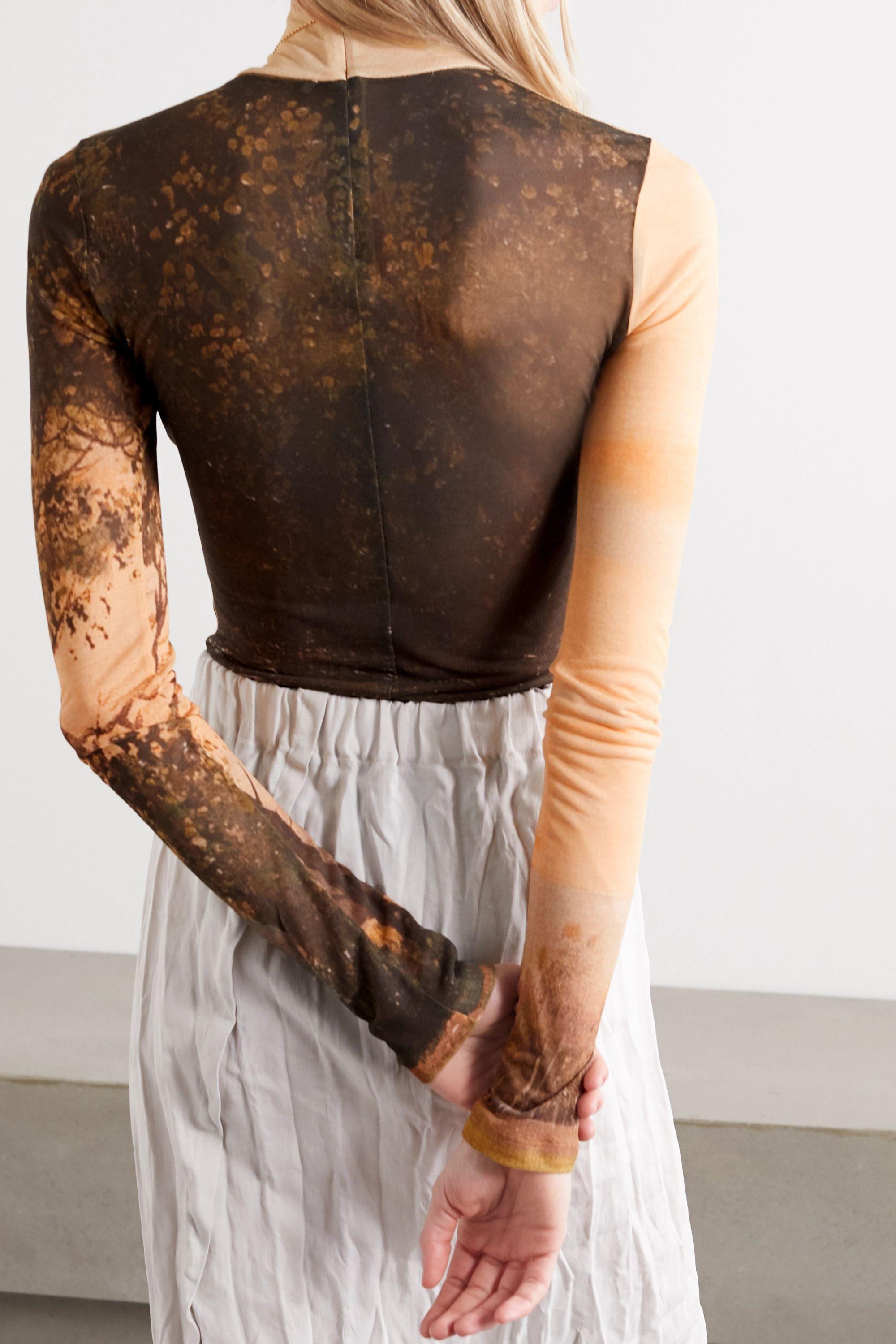 Acne Studios Frayed printed stretch-mesh turtleneck top