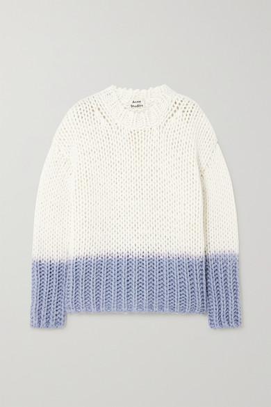 Acne Studios Kirene Two-tone Chunky-knit Jumper In White