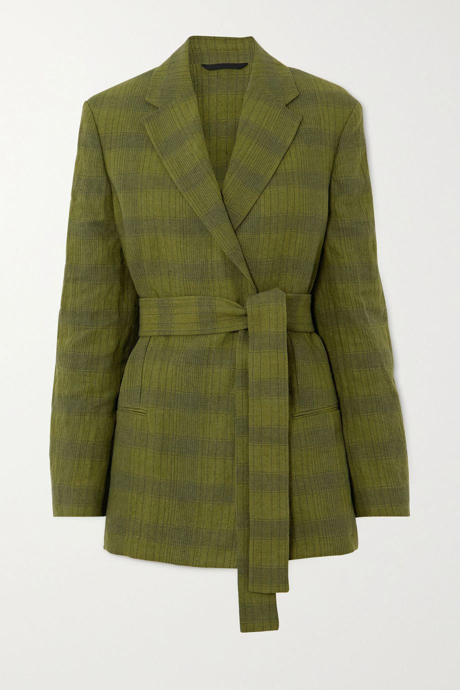 Acne Studios Oversized belted double-breasted checked linen-blend blazer