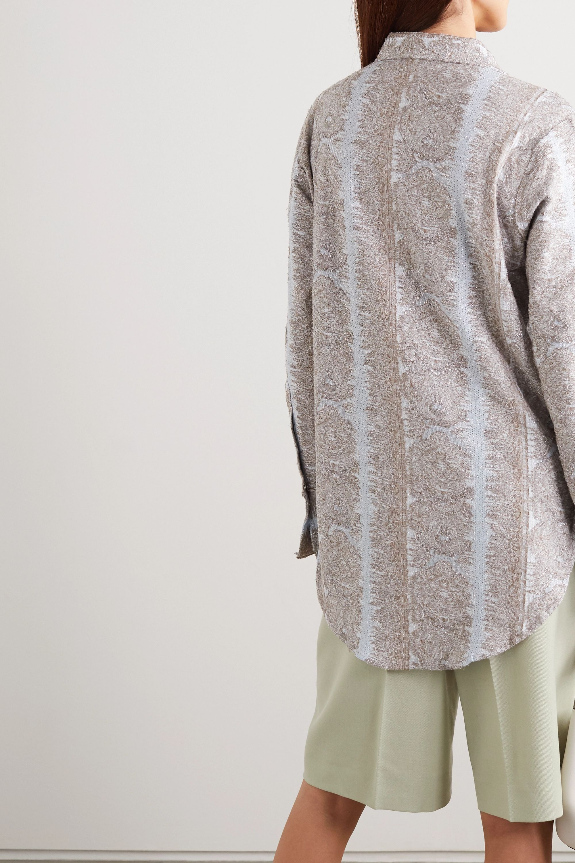 Acne Studios Metallic cotton-blend jacquard shirt