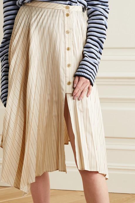 Ilia asymmetric pleated striped satin-twill midi skirt