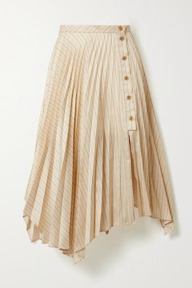 Acne Studios Asymmetric Pleated Striped Satin-twill Midi Skirt In Cream