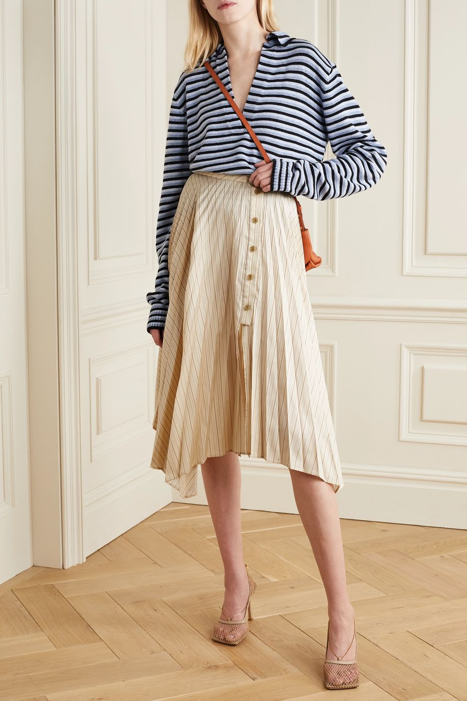 Acne Studios Asymmetric pleated striped satin-twill midi skirt