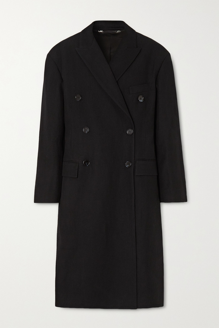 Acne Studios Oversized double-breasted linen and wool-blend twill coat