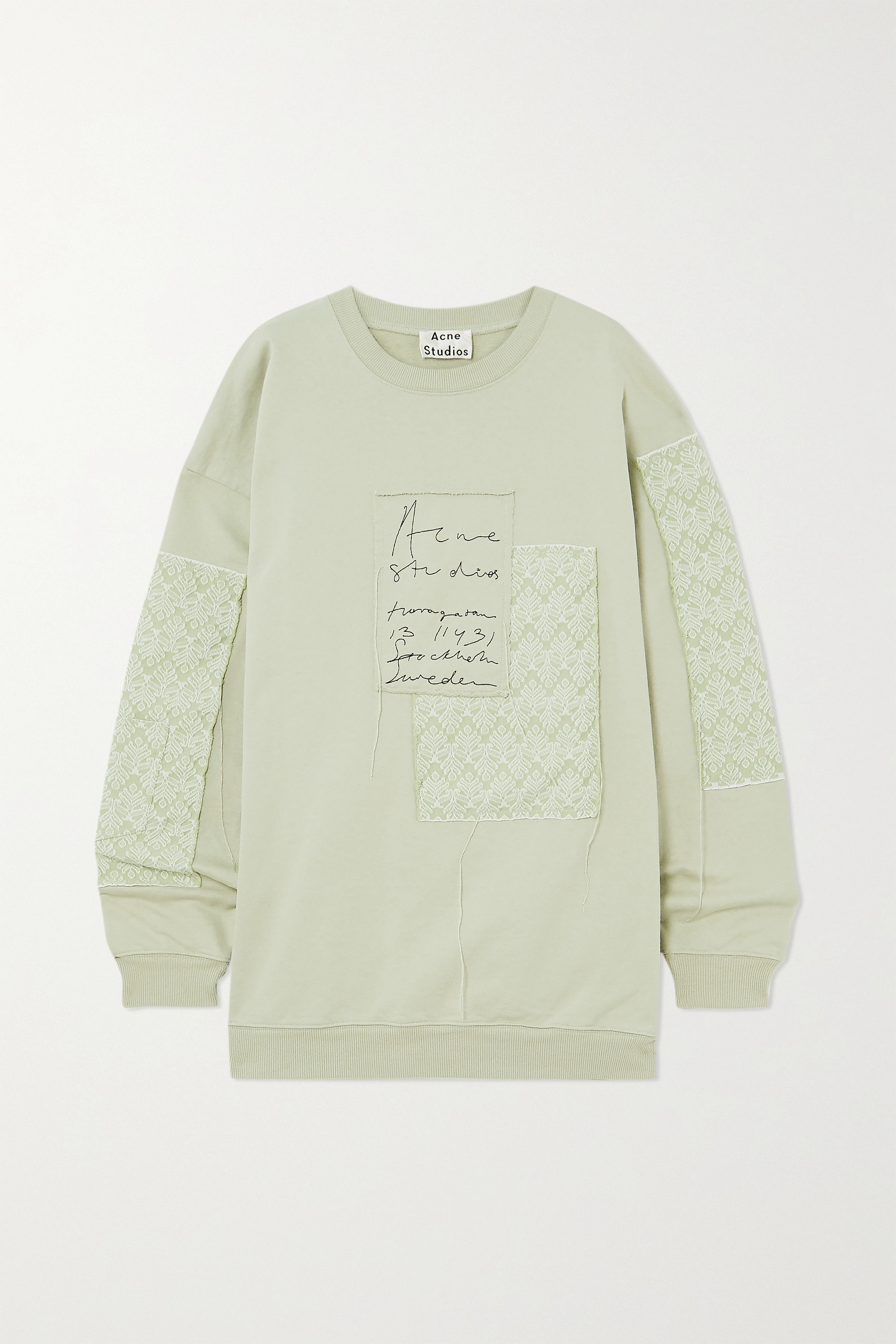 Acne Studios + NET SUSTAIN oversized patchwork organic cotton-jersey and jacquard sweatshirt