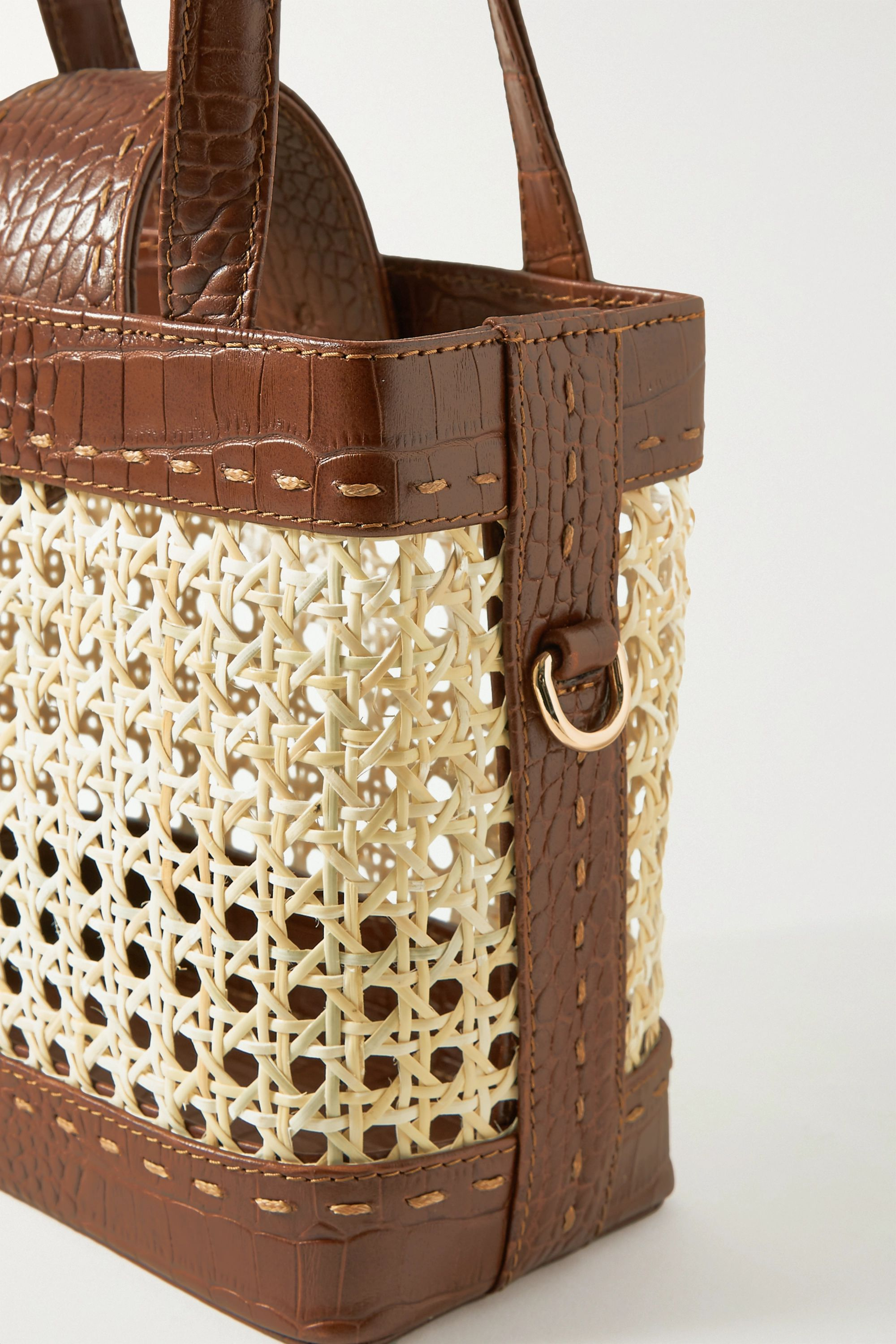 Mehry Mu Fey mini rattan and croc-effect leather tote