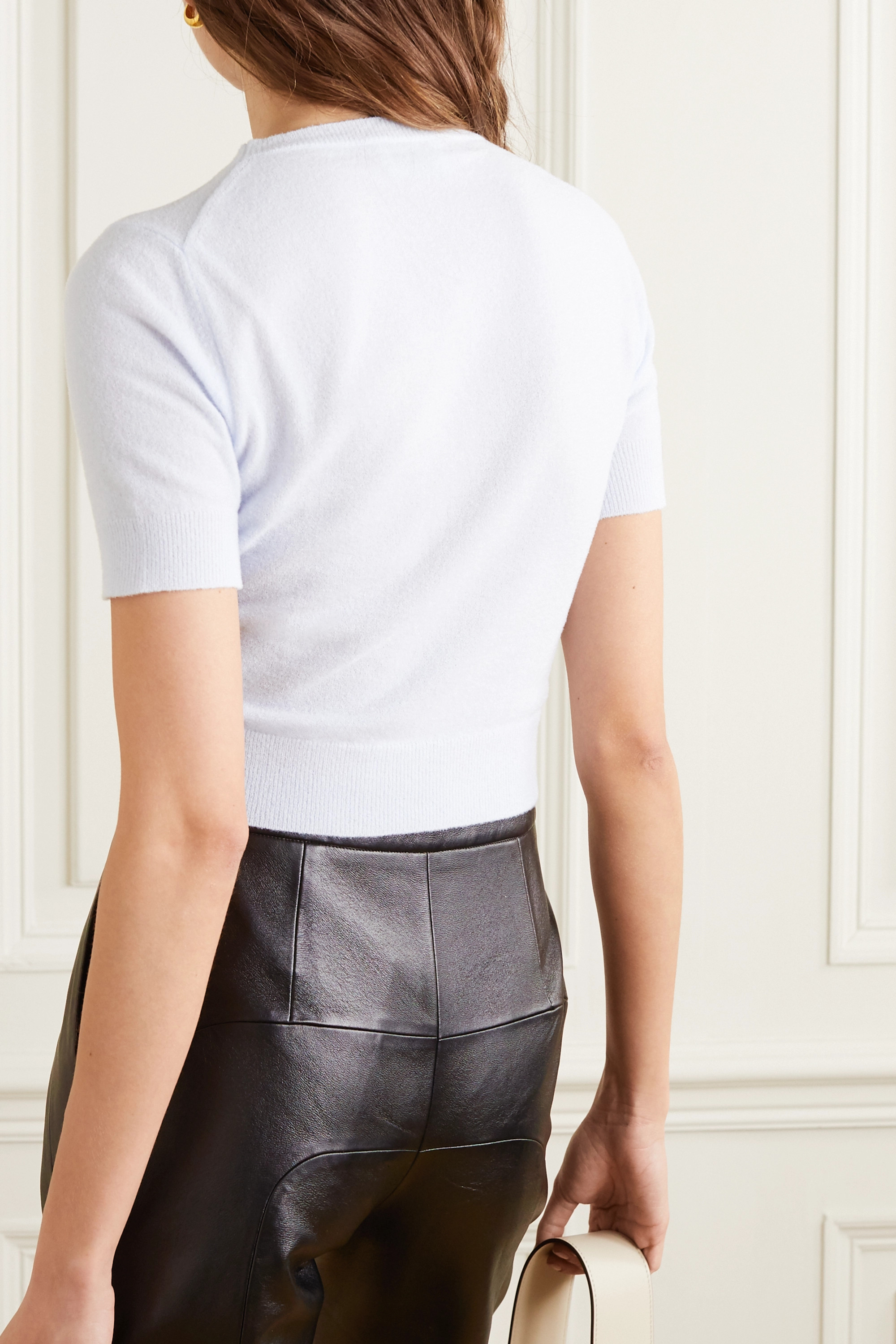 Acne Studios Cropped metallic knitted sweater