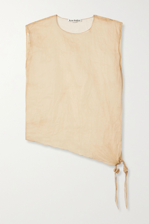 Acne Studios Tie-detailed asymmetric crinkled-organza top