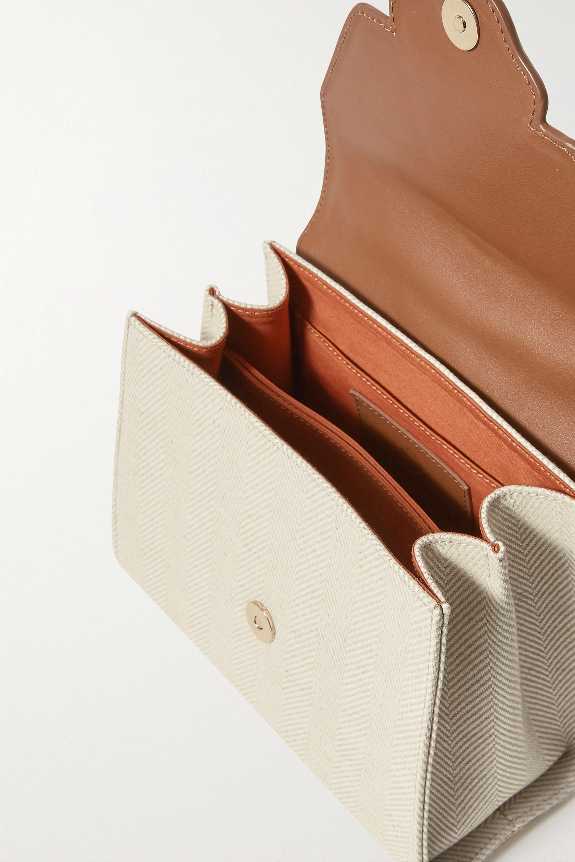 Mehry Mu Fey leather-trimmed herringbone canvas tote