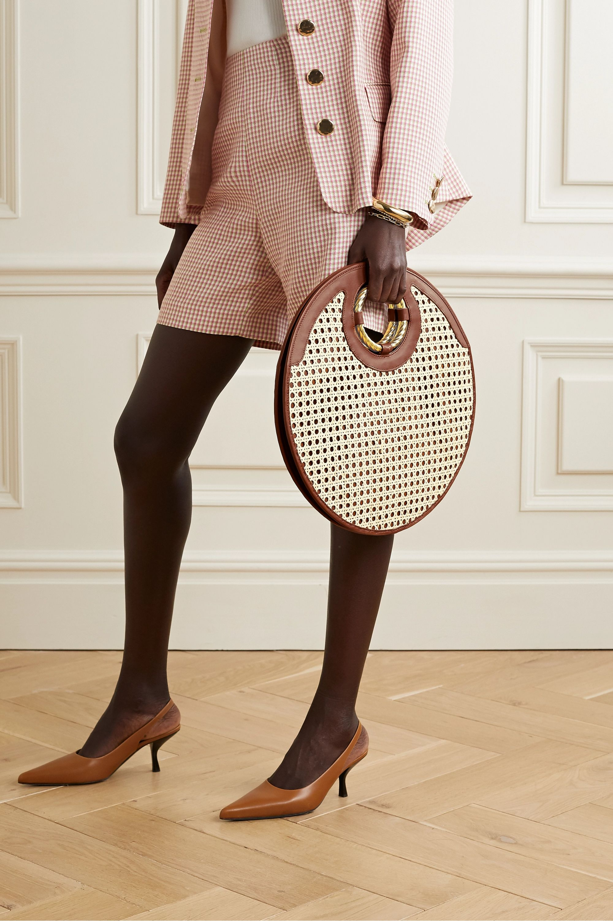 Mehry Mu Drum leather and rattan tote