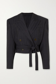 Josie cropped double-breasted pinstriped wool blazer