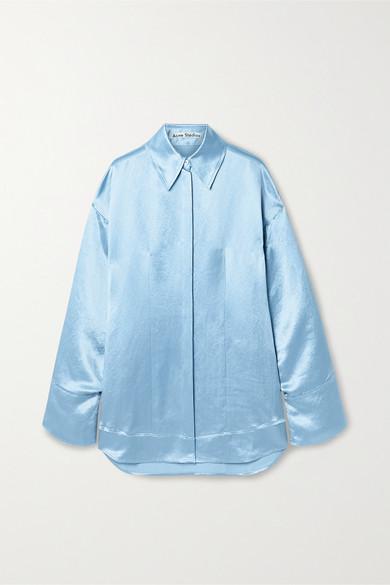 Acne Studios Oversized Satin Shirt Powder Blue In Sky Blue