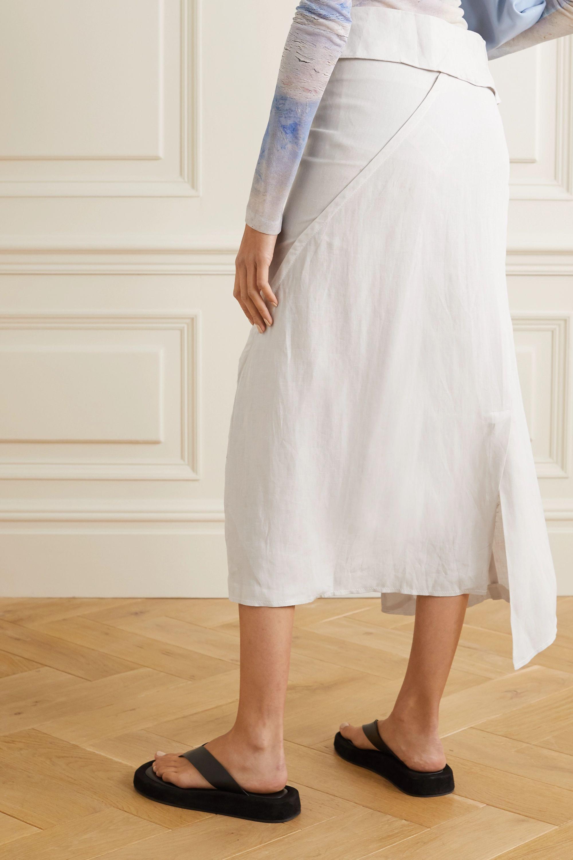Acne Studios Ileana metallic linen wrap midi skirt