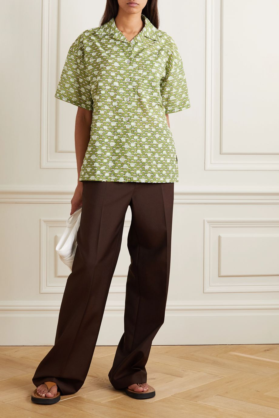 Acne Studios Floral-print cotton-blend fil coupé shirt