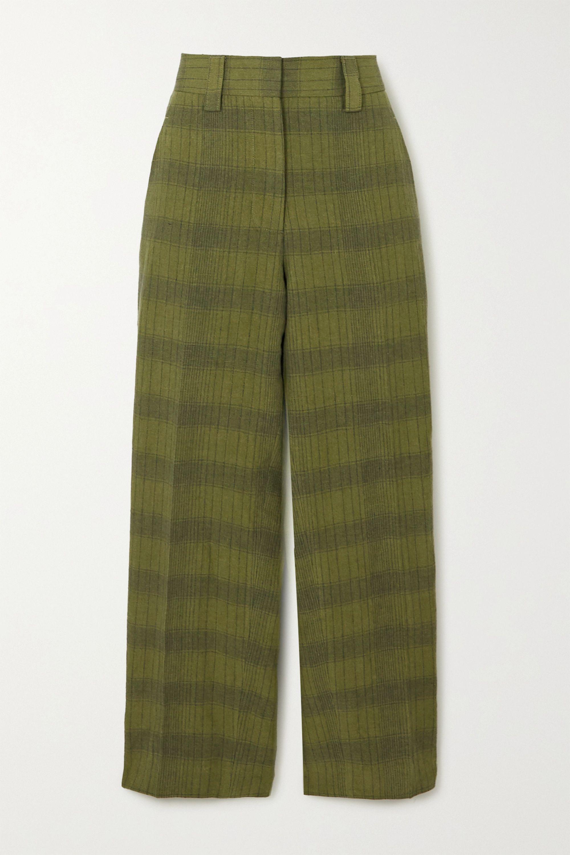 Acne Studios Checked linen-blend straight-leg pants