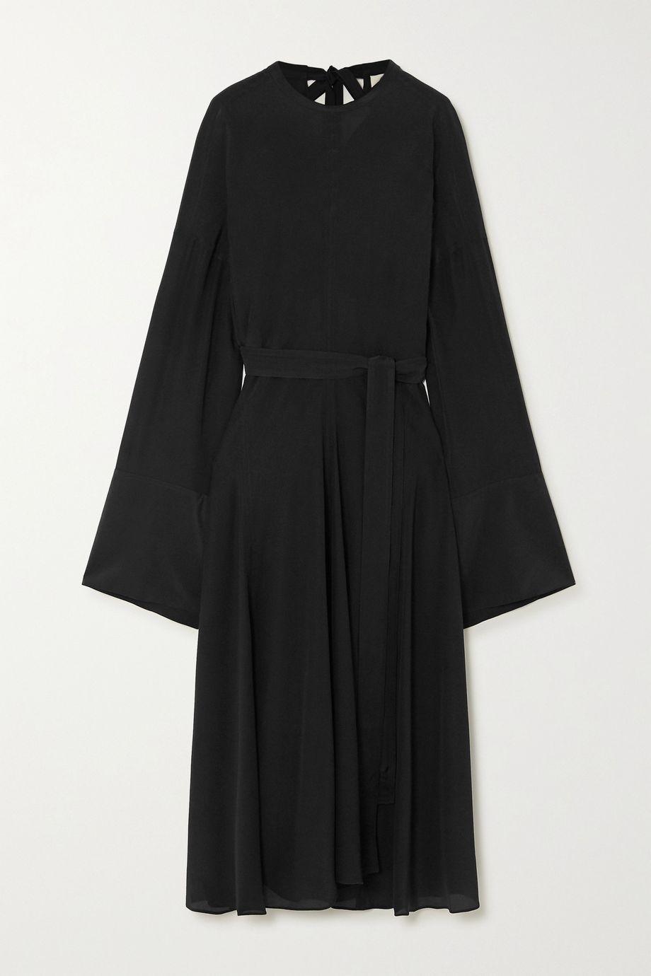 Acne Studios 挖剪缩褶真丝乔其纱超长连衣裙