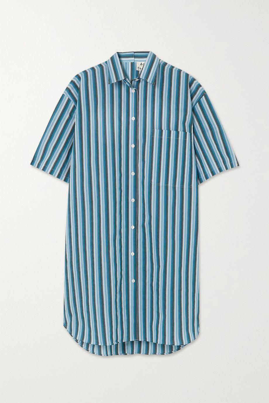 아크네 스튜디오 스트라이프 셔츠원피스 Acne Studios Oversized striped cotton-blend poplin mini dress,Blue