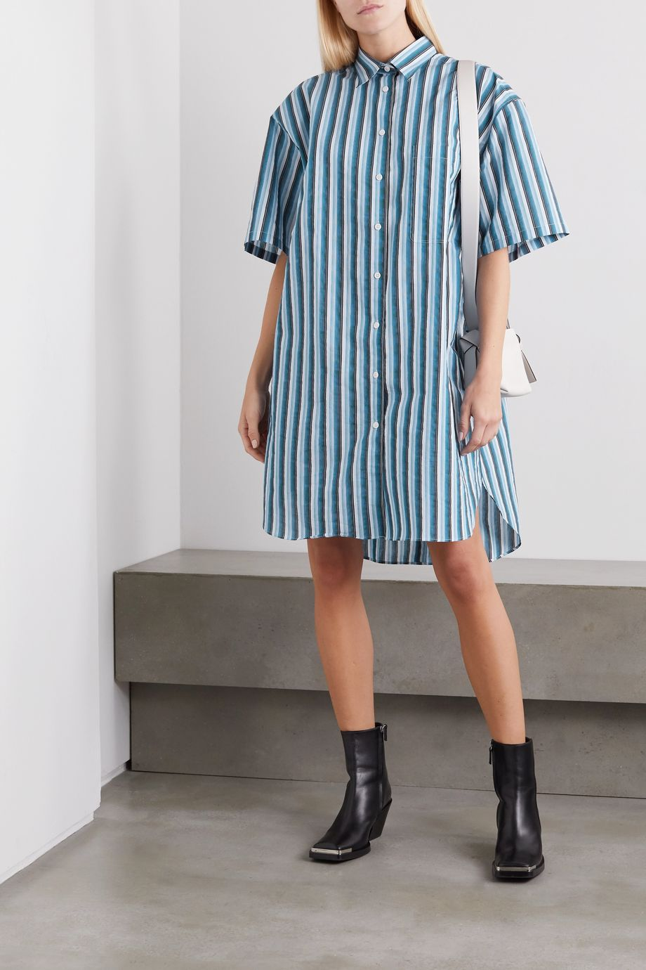 Acne Studios Oversized striped cotton-blend poplin mini dress