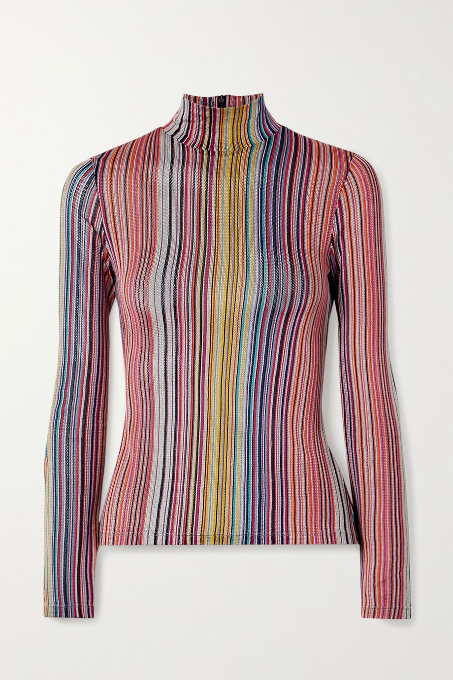 Beaufille Mena striped stretch jacquard-knit turtleneck top