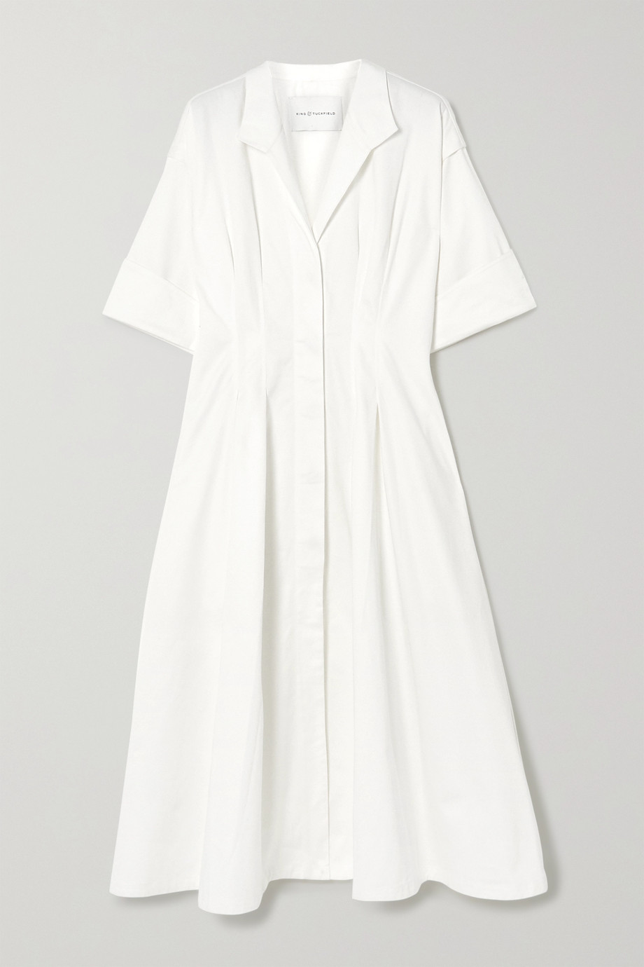 King & Tuckfield Hemdblusenkleid aus Baumwolle mit Falten