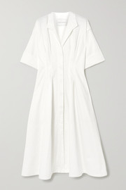 King & Tuckfield Pleated cotton shirt dress