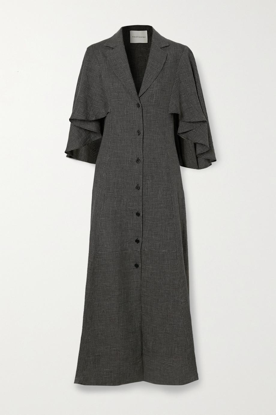 King & Tuckfield Waterfall checked linen midi dress