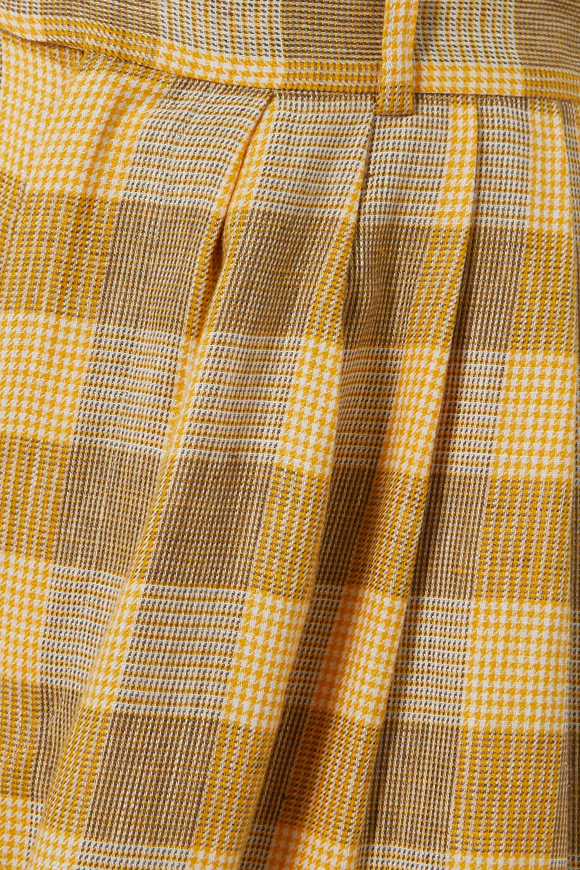 Yellow Checked Linen Wide-leg Pants   King & Tuckfield