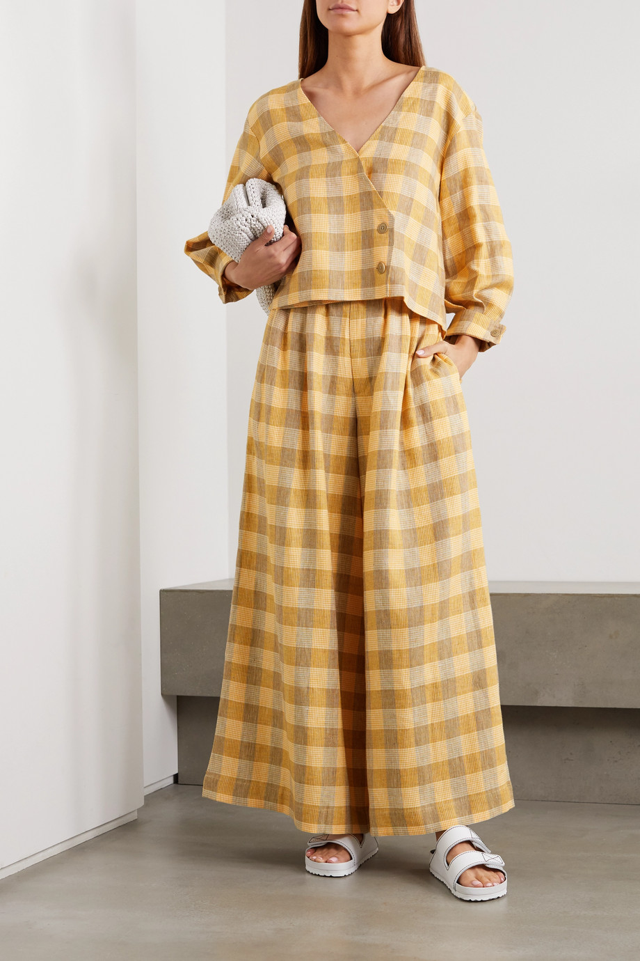 King & Tuckfield Checked linen wide-leg pants