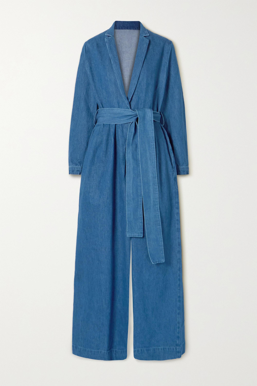 King & Tuckfield Belted wrap-effect denim jumpsuit