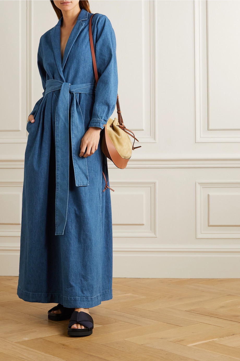 King & Tuckfield Belted wrap-effect denim jumpsuit