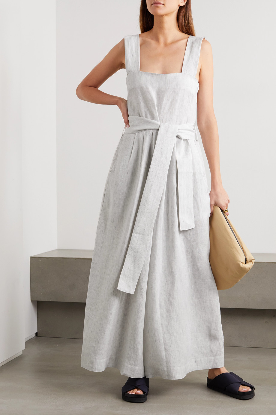 King & Tuckfield Belted striped linen jumpsuit