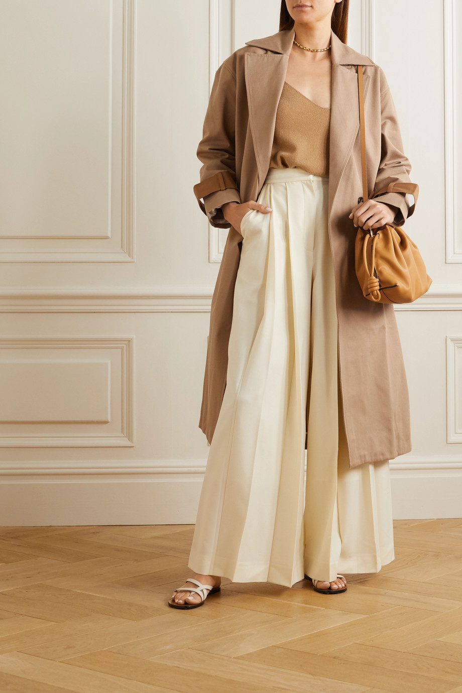 King & Tuckfield Two-tone cotton-drill trench coat