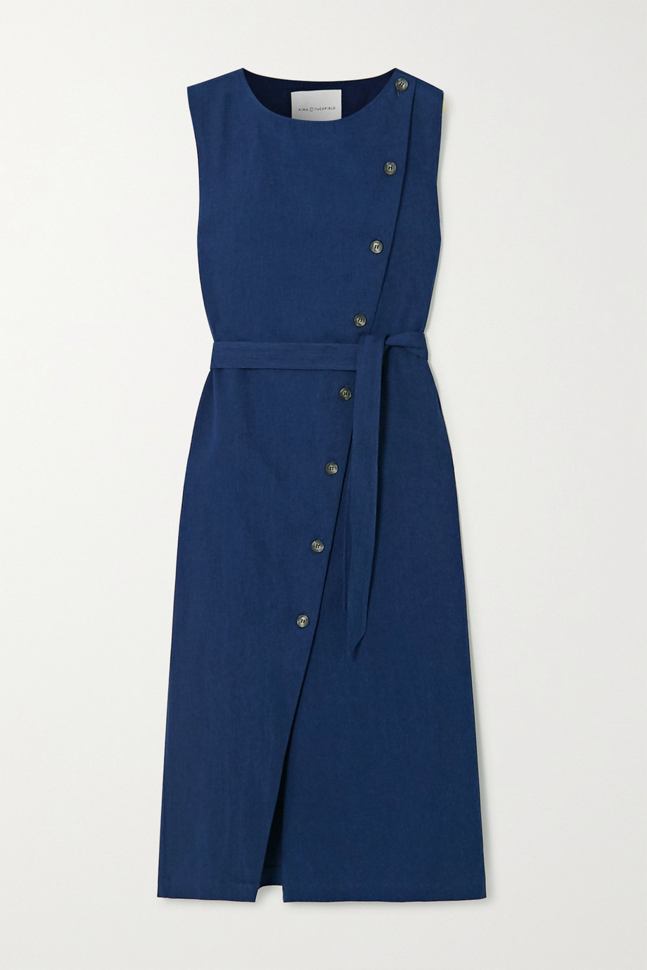 King & Tuckfield Belted denim wrap dress