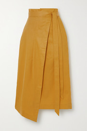 King & Tuckfield Asymmetric Lyocell, linen and cotton-blend wrap skirt
