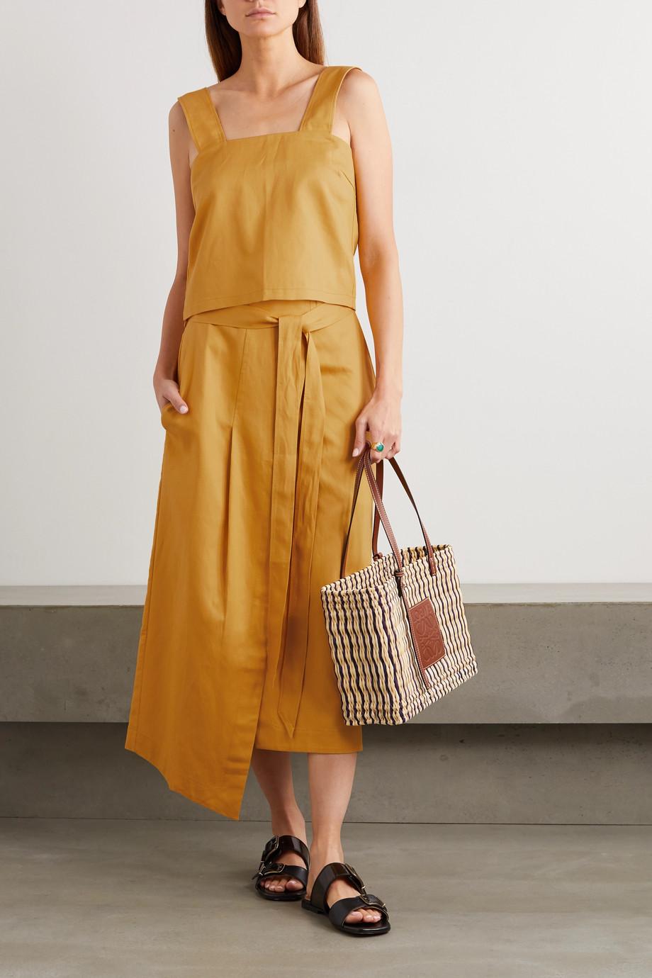 King & Tuckfield Asymmetric Lyocell, linen and cotton-blend wrap skirt