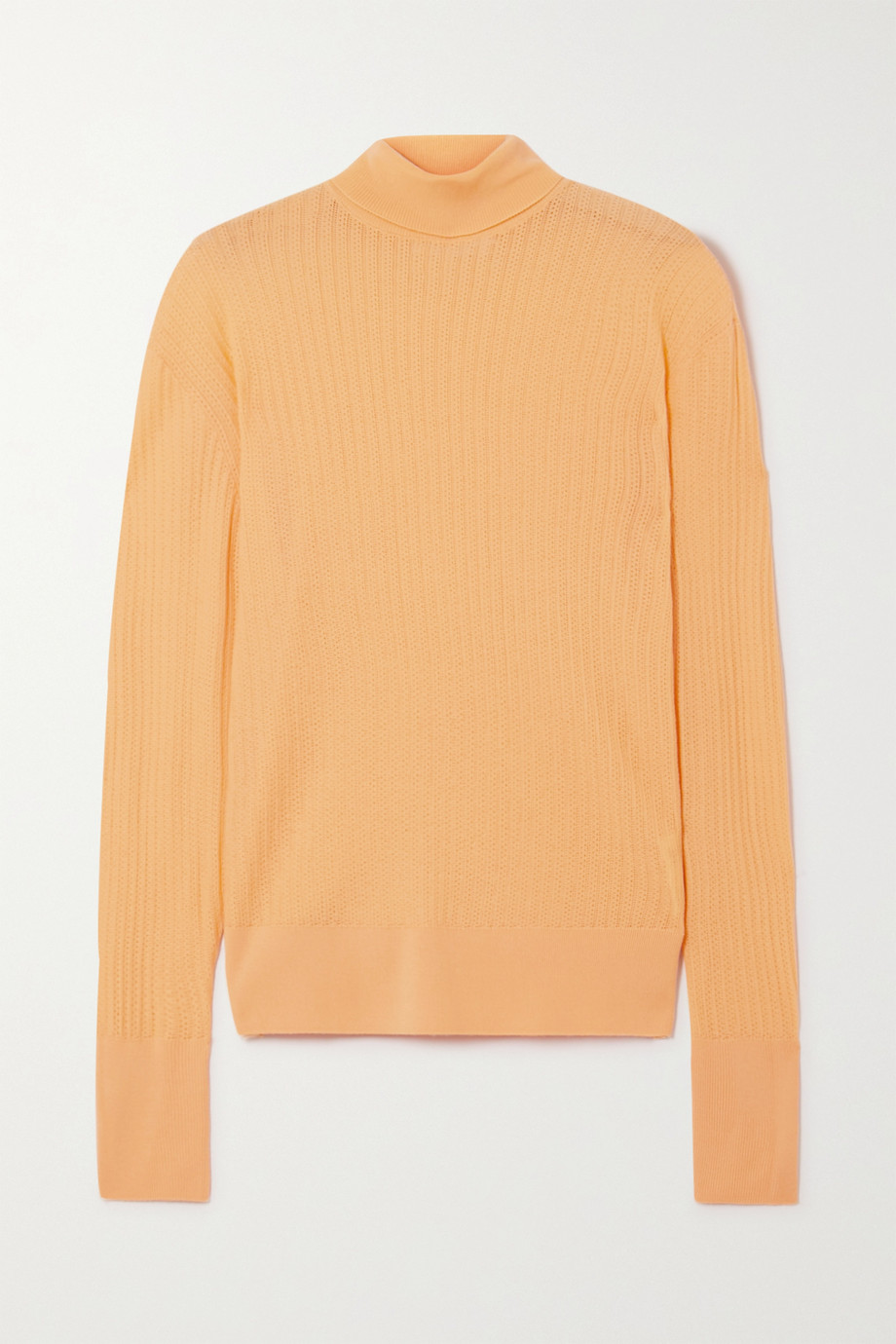 King & Tuckfield Pointelle-knit merino wool turtleneck sweater