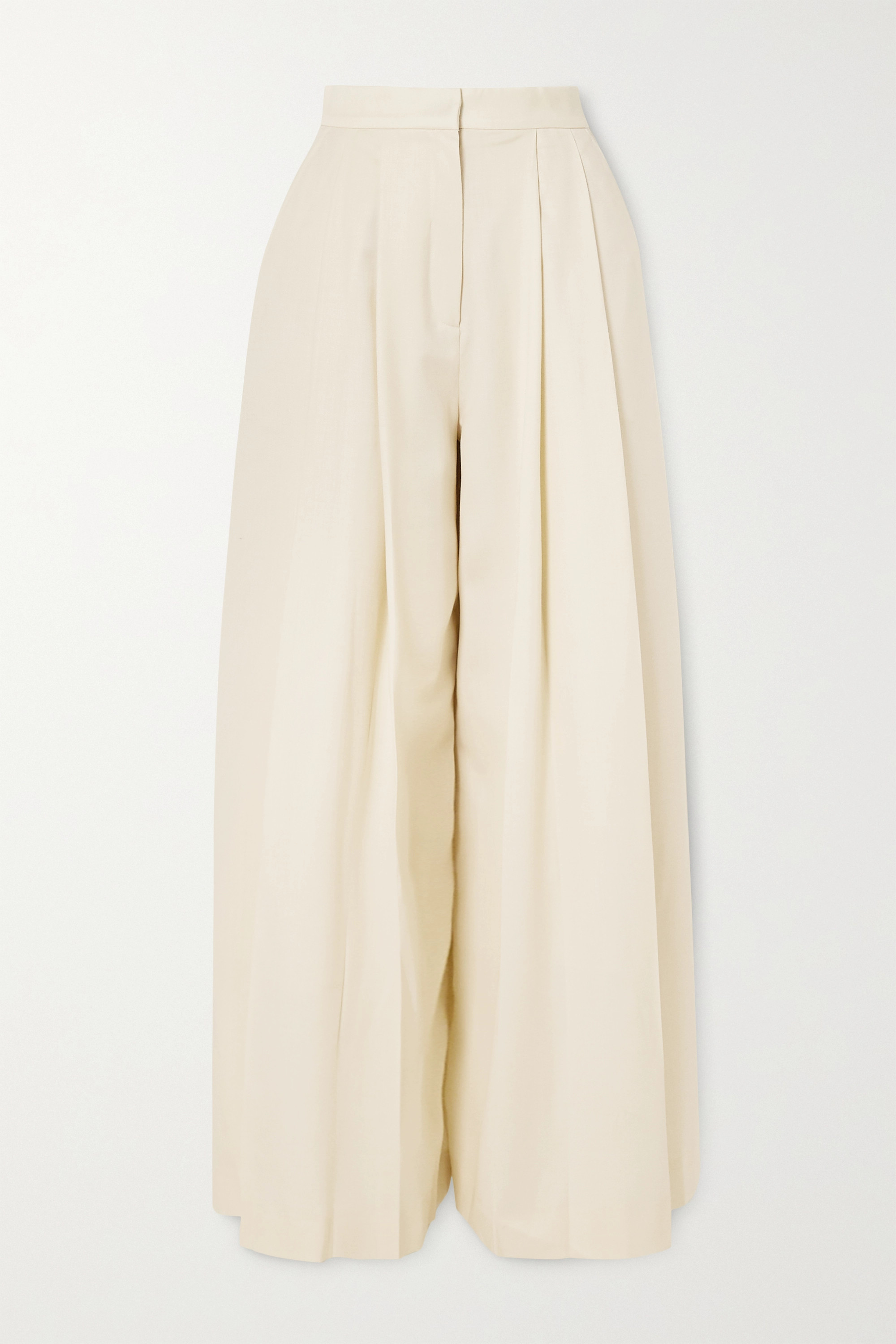 King & Tuckfield Pleated wool-twill wide-leg pants