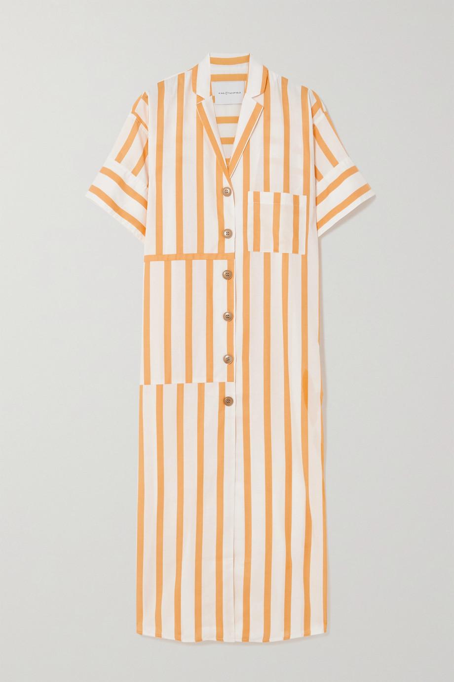 King & Tuckfield Midi-Hemdblusenkleid aus einer gestreiften Baumwollmischung