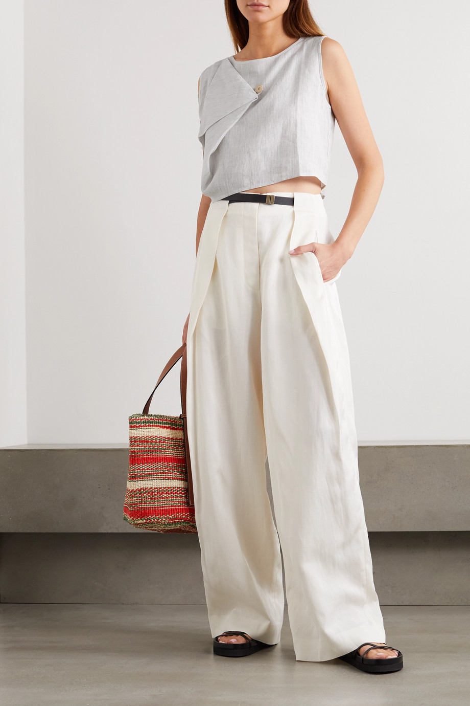King & Tuckfield Cropped draped striped linen top