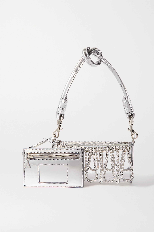 AREA Leather-trimmed crystal-embellished PVC shoulder bag