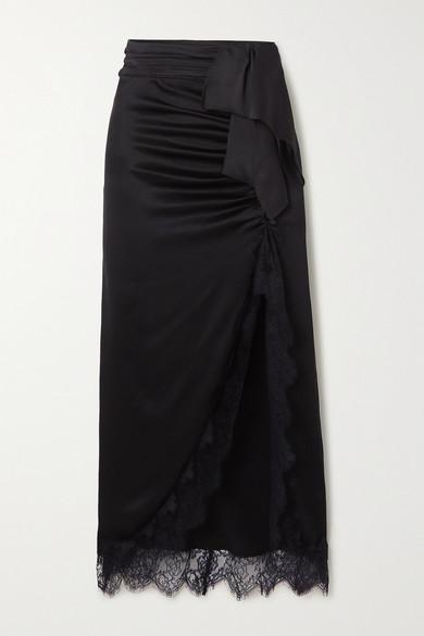 Vanessa Cocchiaro Skirts THE APHRA LACE-TRIMMED DRAPED RUCHED SATIN MIDI SKIRT