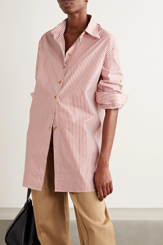 ANNA QUAN Alfie oversized striped cotton-blend poplin shirt