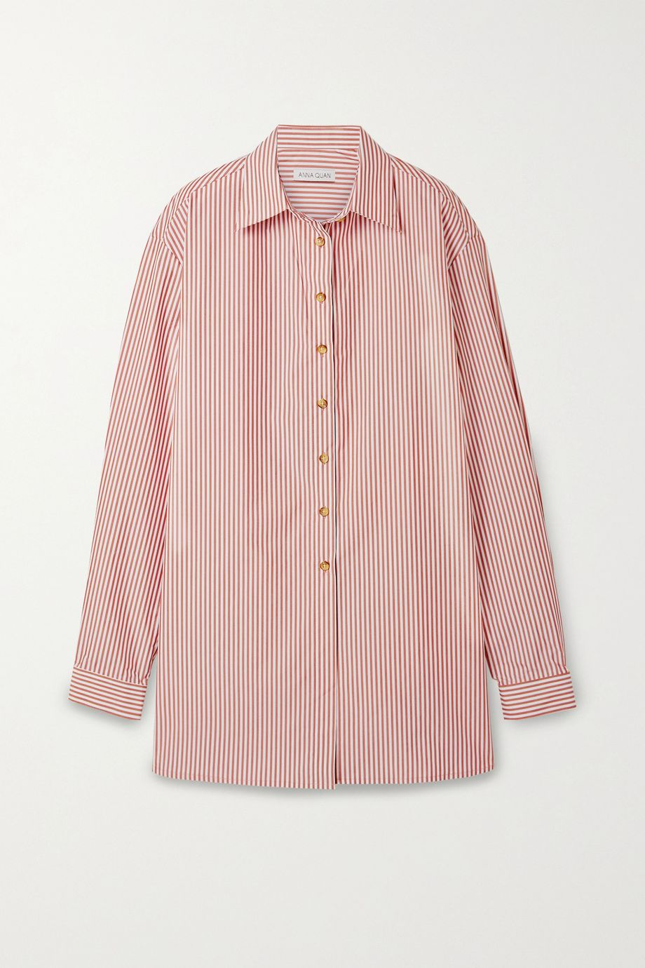 ANNA QUAN Alfie oversized striped cotton-blend poplin shirt